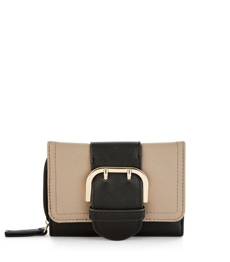 Black Contrast Buckle Purse | New Look