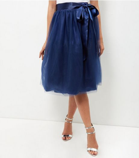 Apricot Blue Mesh Ribbon Tie Skirt | New Look