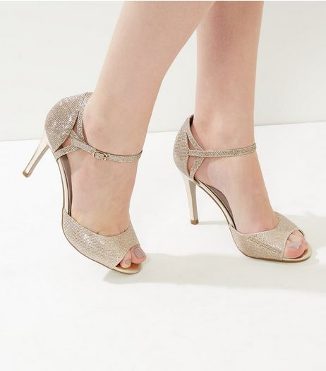 Gold Gliter Ankle Strap Heeled Sandals | New Look