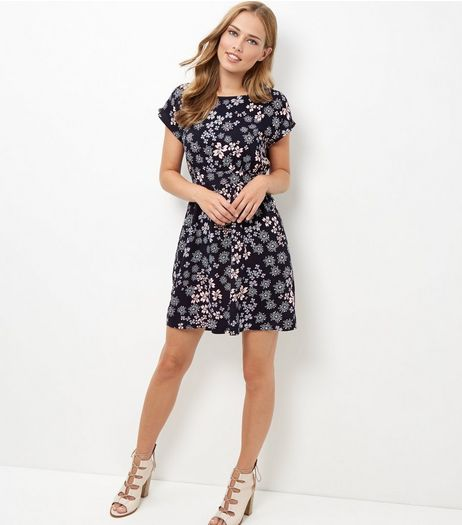 Apricot Blue Floral Print Tie Back Dress | New Look