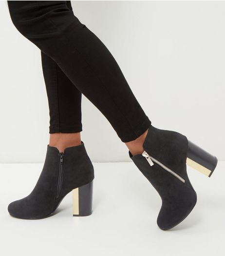 Black Suedette Metal Trim Heeled Boots | New Look