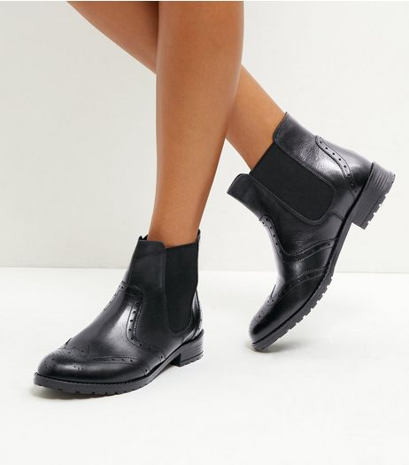 Black Leather Brogue Chelsea Boots | New Look