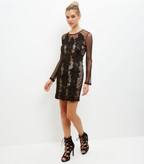 Black Lace Panel Mesh Bodycon Dress | New Look
