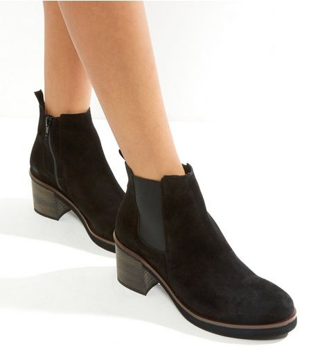 Black Suede Block Heel Chelsea Boots | New Look