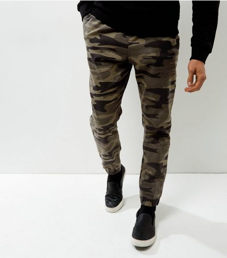 Green Camo Print Joggers | New Look