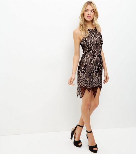 Black Lace Scallop Hem Bodycon Dress | New Look