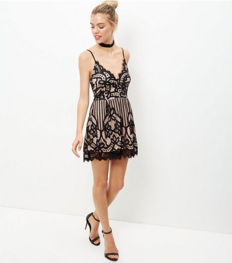 Black Lace V Neck Playsuit | New Look