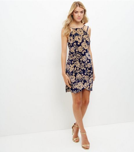 Blue Rose Print Velvet Bodycon Dress | New Look