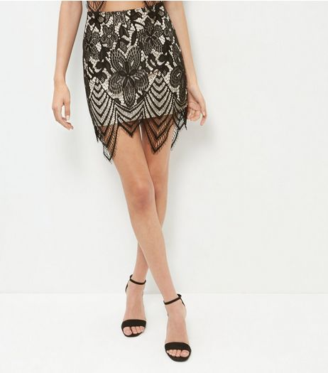Black Lace Scallop Hem Mini Skirt  | New Look
