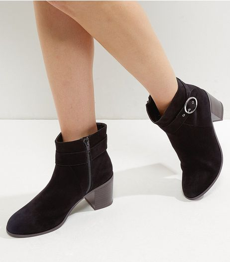 Wide Fit Black Comfort Suedette Silver Buckle Ankle Boots | New Look