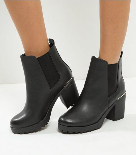 Wide Fit Black Leather-Look Gold Trim Block Heel Boots | New Look