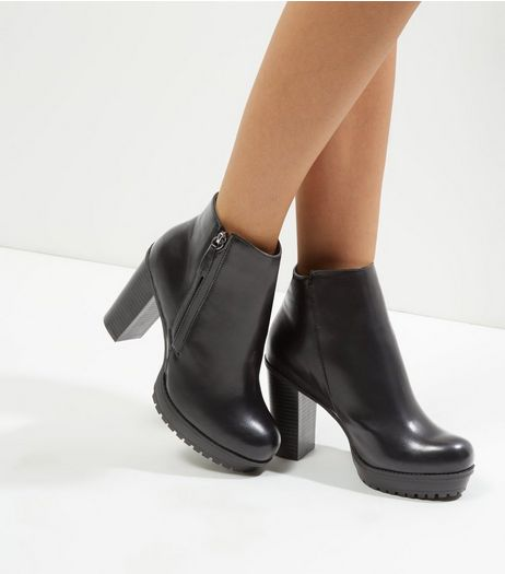Wide Fit Black Platform Heeled Boots | New Look