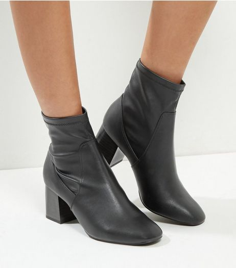 Wide Fit Black High Ankle Block Heel Boots | New Look