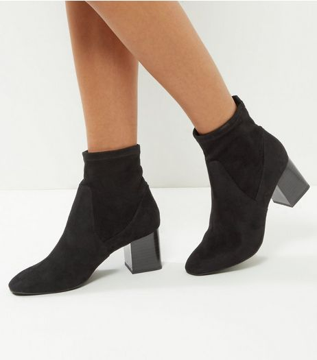Wide Fit Black Suedette Elasticated Block Heel Ankle Boots | New Look