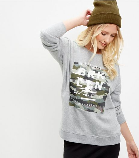 Grey Brooklyn Camo Print Sweater  | New Look