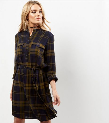 Navy Check Belted Shirt Dress | New Look