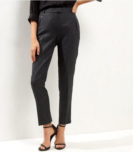 Black Puppy Tooth Check Straight Leg Trousers | New Look