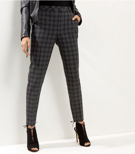 Dark Grey Check Straight Leg Trousers  | New Look