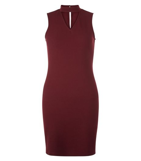 Teens Burgundy Choker Neck Bodycon Dress | New Look