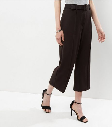 Black Cropped Belted Culottes | New Look