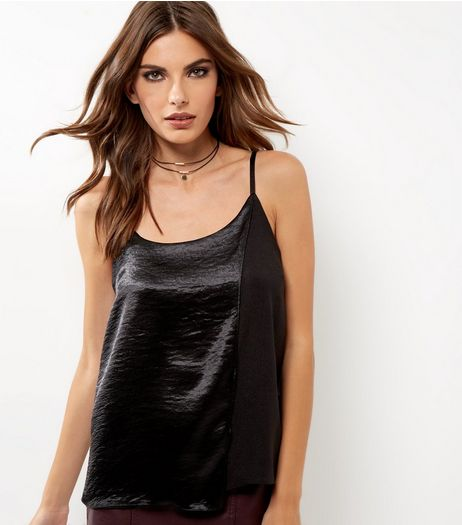 Black Satin Panel Cami  | New Look