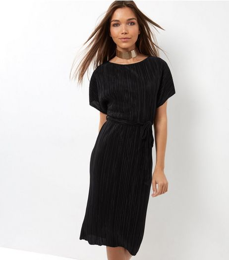 Black Pleated Tie Waist Midi Dress | New Look