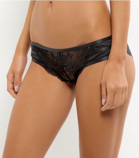 Black Lace Strappy Back Lace Brazilian Briefs | New Look