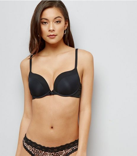 Black Mesh Trim Push Up Bra | New Look