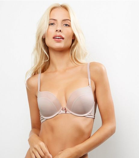 Pink Mesh Trim Push Up Bra | New Look