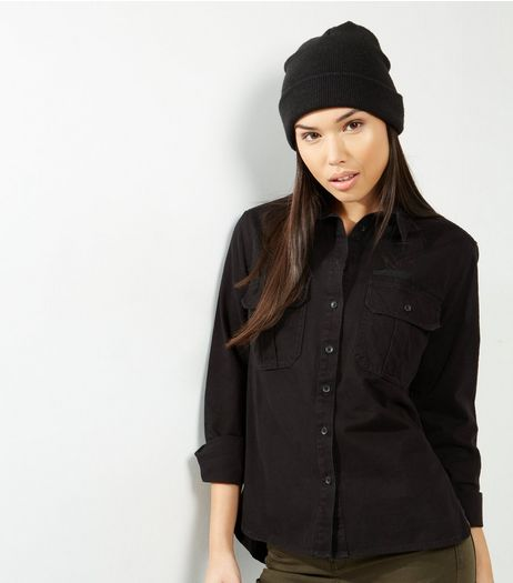 Black Double Pocket Shirt | New Look