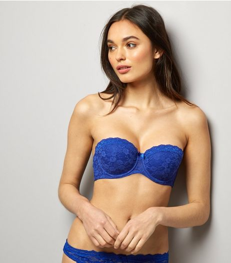 Blue Lace Strapless Bra | New Look