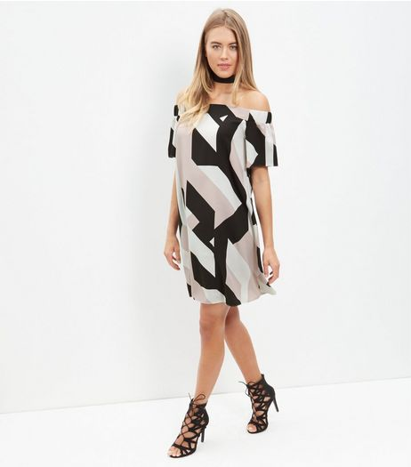 Pink Geo Print Bardot Neck Dress | New Look
