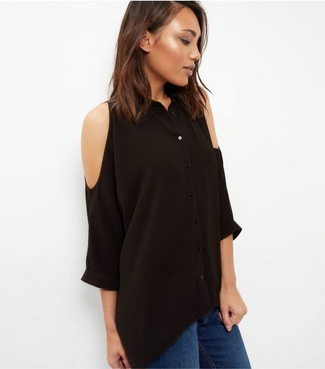 Black Textured Cold Shoulder Roll Sleeve Shirt  | New Look