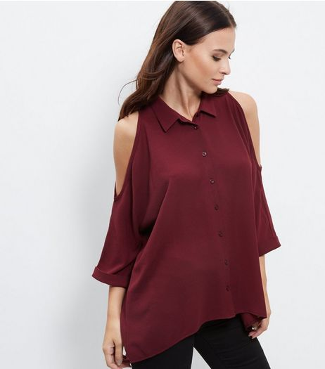 Burgundy Textured Cold Shoulder Roll Sleeve Shirt | New Look
