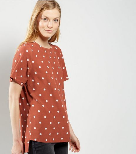 Brown Spot Print Boxy T-Shirt | New Look