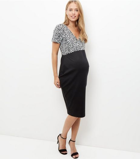 Maternity Black Jacquard Wrap 2in1 Dress | New Look