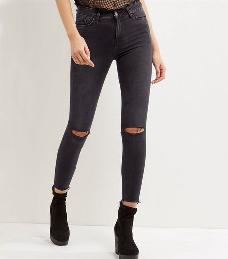 Black Ripped Knee Fray Hem Shaper Skinny Jeans  | New Look