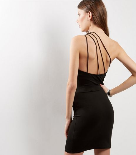 Black Off The Shoulder Strappy Bodycon Dress | New Look