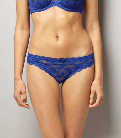 Blue Contrast Lace Trim Thong | New Look