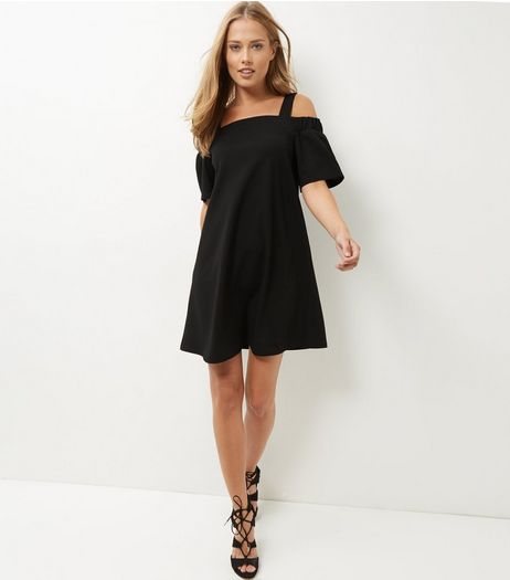 Black Scuba Cold Shoulder Swing Dress  | New Look