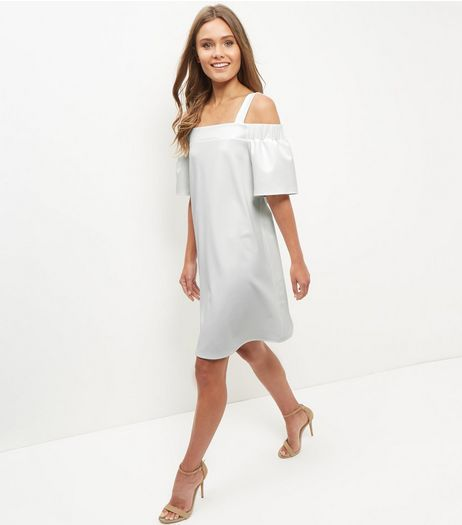Cream Scuba Cold Shoulder Swing Dress  | New Look