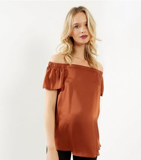 Maternity Brown Sateen Woven Bardot Neck Top | New Look