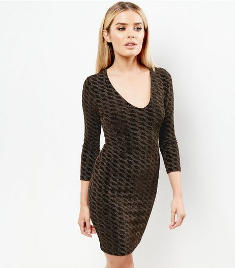 Black Metallic Abstract Pattern Bodycon Dress | New Look