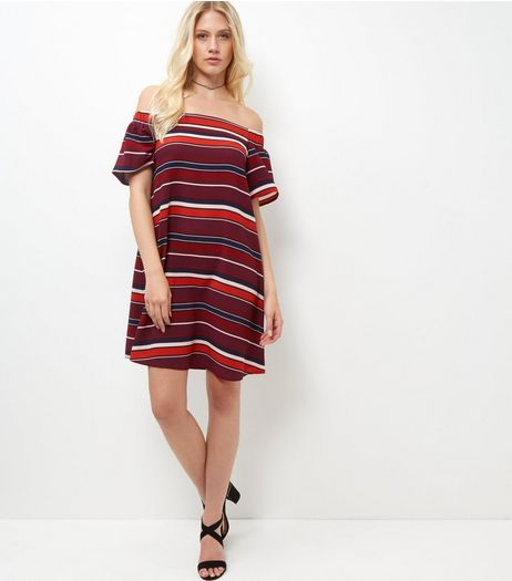 Red Stripe Bardot Neck Dress  | New Look