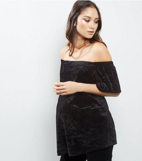 Maternity Black Velvet Bardot Neck Top  | New Look