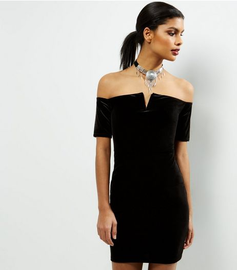 Black Velvet Bardot Neck Bodycon Dress | New Look