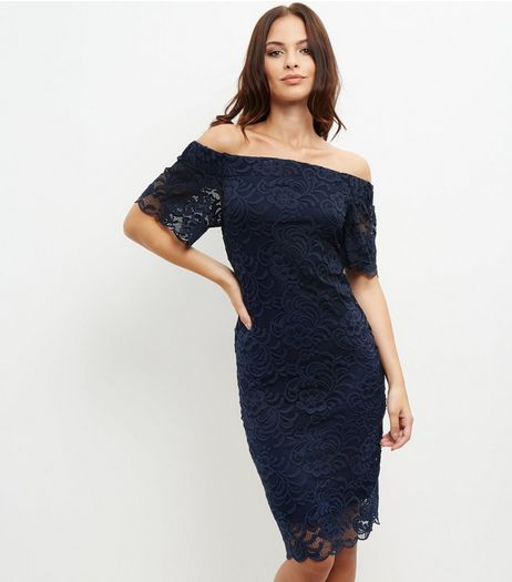 Navy Lace Bardot Shift Dress | New Look