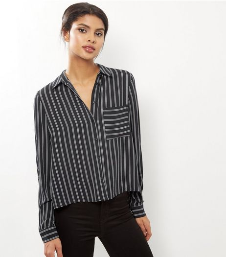 Black Stripe Long Sleeve Cropped Shirt  | New Look