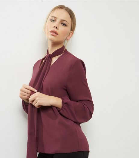 Burgundy Pussybow Shirt | New Look