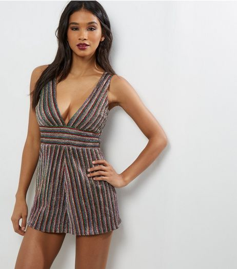 Multi Coloured Metallic Stripe Plunge Playsuit | New Look